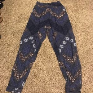 high rise patterned pants